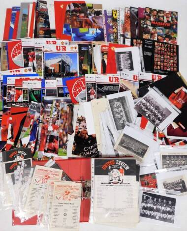 Various football programmes, Manchester United related, including United Review 1991, various related ephemera, other United review magazines, Champions League Final 2003 Juventus vs Milan, Auto Pen signed Peter Schmeichel photograph, other related Manche