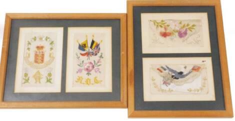 Various framed postcard silks WW1, etc. Army Ordnance Corps, etc., in two frames, 26cm x 21cm. (4)