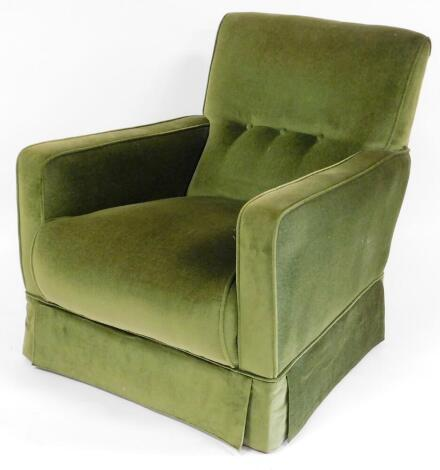 An early 20thC mahogany framed armchair, with button upholstered back, in later green material, on square tapering front legs, 80cm high.