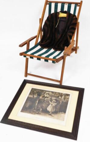 A fur shoulder stole, of quarter length, in dark colours, 66cm high, a folding deck chair, with material seat, and a print entitled Exchange Is No Robbery.