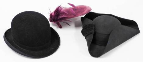Various hats, to include Ede and Ravenscroft tricorn hat, 31cm wide, inner dimensions approx 19cm x 15cm, a bowler hat and a ladies hat. (a quantity)