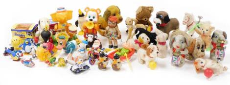 A Big Elephant Band child's music player, articulated plastic and metal toy with fixed key, 20cm high, part tin plate Santa Claus figure, various other clockwork child's and other toys, etc., boxing Snoopy, etc. (a quantity)