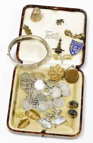 Various silver jewellery, etc., bangle, 3d coin bracelet, base metal flower head brooch 3cm wide, etc. (a quantity)