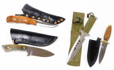 Various sheath knives, to include one in khaki sheath, 25cm wide, etc. (4)