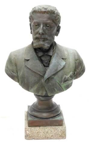 Jean-Fleury Hainglaise (b1845). Bust of a bearded gentleman, on circular socle and stone base, foundry mark for Bouhon Freres, 78cm high.