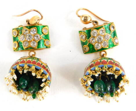 A pair of Indian enamel drop earrings, each with green enamelled top set with round brilliant cut diamonds, on a white and red enamel back, with a domed enamel drop, in green and red, set with red and white paste stones, with seed pearl drops, yellow meta