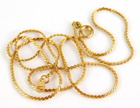 A gold plated necklace, of fancy link design, 46cm long overall.