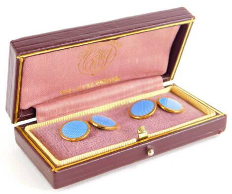 A pair of 9ct gold Asprey enamel cufflinks, the circular blue enamel on a plain gold back, Birmingham 1985, 8.2g all in, in Cadby & Johnson box.