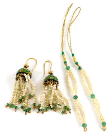 A pair of enamel and seed pearl earrings, the enamel top in green with gold ferns, with blue enamel link top, with various seed pearl drops, terminating in an emerald bead, yellow metal, unmarked, approx 2cm drop, 8.2g all in, together with two emerald an