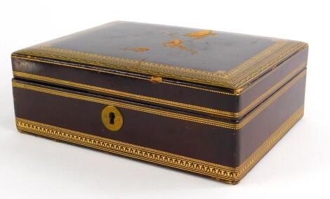 An early 20thC leather gilt tooled jewellery box, with brown velvet lined interior and single shelf, 6cm high, 20cm wide, 15cm deep.