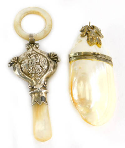 Two mother of pearl items, to include a George V silver rattle, with mother of pearl stem and ring, Birmingham 1924, 11cm high overall, and a mother of pearl silver plated pendant box. (2)