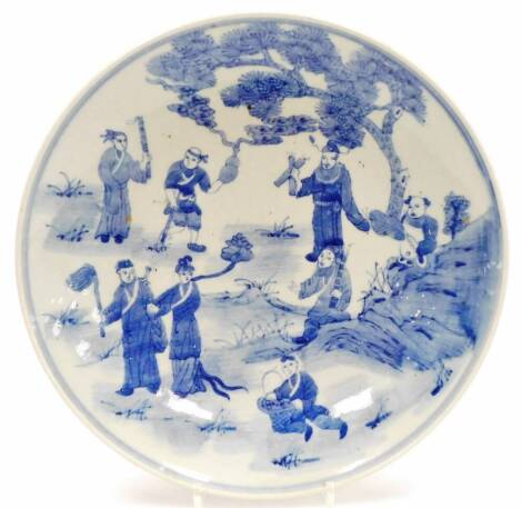 A Chinese blue and white plate, profusely decorated with figures before trees, with a double line border, Xangxi style seal mark beneath, but later, 31cm diameter.