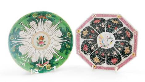 A group of Chinese ceramics, comprising an octagonal dish in famille rose palette; and a further porcelain saucer in green enamels with Chenghua nian zhi mark beneath. (2)