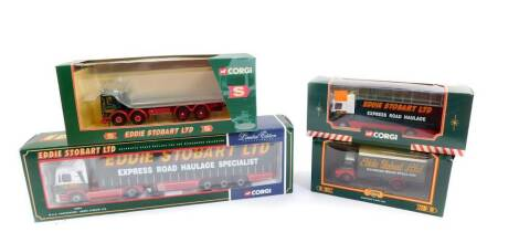 Corgi die cast models of Eddie Stobart Limted Collectables, comprising a limited edition M.A.N. curtainside, 75804., AEC eight wheel platform lorry, 20903., Scania short wheel base lorry, 59508., and a Bedford S Box van, 19306, all boxed. (4)