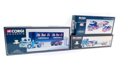 Three Corgi Classics Eddie Stobart Limited die cast models, scale 1:50, comprising an ERF KV low loader, 11601., Thames Trader platform trailer with pallets, 31704., and a Foden S21 arctic trailer, with containers and white metal figure, 14303., all boxe