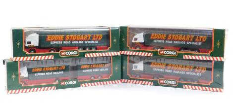 Four Corgi Eddie Stobart Limited die cast models, comprising a Volvo short wheel based lorry with close coupled trailer, 59516., ERF curtainside trailer, 59502., Volvo curtainside trailer, 59504., and a Scania curtainside trailer, 59503., all boxed.