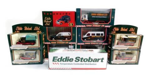 Corgi Eddie Stobart Limited die cast vehicles, comprising a forklift truck, 56702., four Motoring Memories Collectables, 61203., Transit van, 58112., Ford Escort van, 58304., Mercedes 207D van, 58401., a Ford Cargo box van, 59601., and a Special Edition V