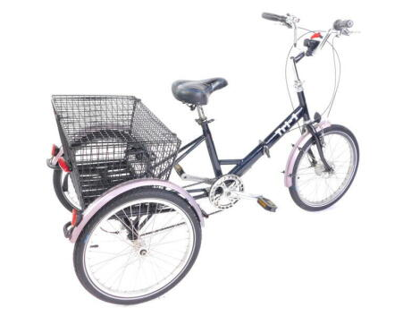 A Pashley adult folding tricycle TRI-1, black frame, with Wide Ratio 7 speed gears, Classic caliper brakes and enclosed hub brake, and chrome riser handle bars.