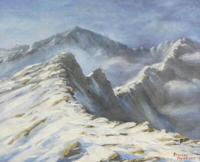 Stanley Bennett. Snowy mountainscape, oil, signed, 38.5cm x 48cm.