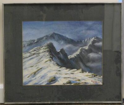 Stanley Bennett. Snowy mountainscape, oil, signed, 38.5cm x 48cm. - 2