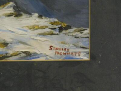 Stanley Bennett. Snowy mountainscape, oil, signed, 38.5cm x 48cm. - 3