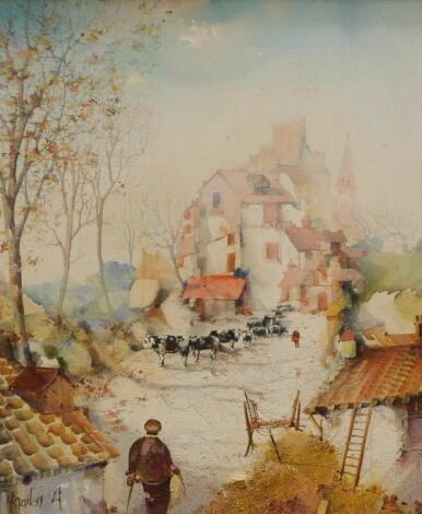 Jorge Acquilar-Agon (b.1936). Farm landscape with cattle, oil on canvas, signed, 45cm x 37cm.