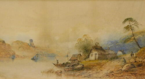 Edwin Earp (1851-1945). River landscape with figures and fishing boats, watercolour, signed, 24cm x 48cm.