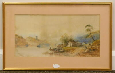 Edwin Earp (1851-1945). River landscape with figures and fishing boats, watercolour, signed, 24cm x 48cm. - 2