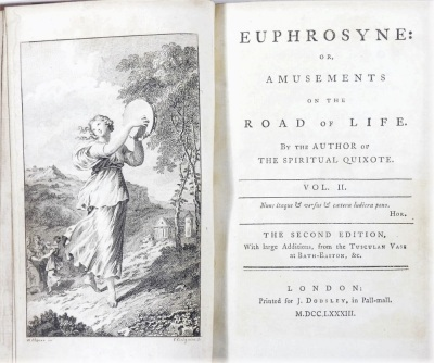 [Graves] EUPHROSYNE: OR AMUSEMENTS ON THE ROAD OF LIFE... 2 vol., half-titles, engraved frontispieces, contemporary calf, 8vo, J. Dodsley, 1783. - 5