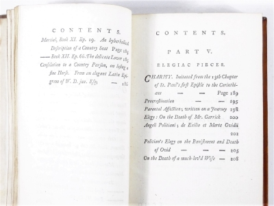 [Graves] EUPHROSYNE: OR AMUSEMENTS ON THE ROAD OF LIFE... 2 vol., half-titles, engraved frontispieces, contemporary calf, 8vo, J. Dodsley, 1783. - 6