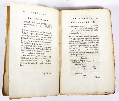 Hooper (W.) RATIONAL RECREATIONS IN WHICH THE PRINCIPLES OF NUMBERS AND NATURAL PHILOSOPHY ARE CLEARLY...ELUCIDATED second edition, 3 vol., engraved plates, many folding, contemporary calf-backed boards, spines worn, 8vo, L. Davis & J. Robson, 1783. - 4