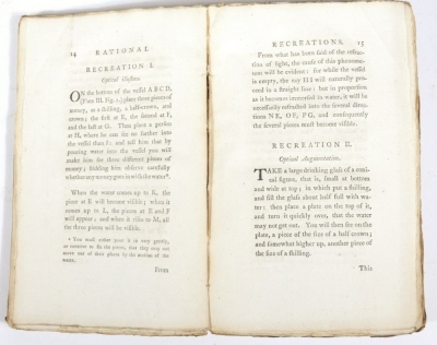 Hooper (W.) RATIONAL RECREATIONS IN WHICH THE PRINCIPLES OF NUMBERS AND NATURAL PHILOSOPHY ARE CLEARLY...ELUCIDATED second edition, 3 vol., engraved plates, many folding, contemporary calf-backed boards, spines worn, 8vo, L. Davis & J. Robson, 1783. - 6