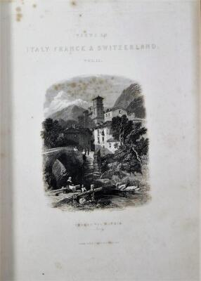 Roscoe (T.) VIEWS OF CITIES AND SCENERY IN ITALY, FRANCE AND SWITZERLAND 3 vol., additional engraved titles, engraved plates, tissue-guards, contemporary half calf over patterned boards, 4to, n.d. [c.1830] - 5