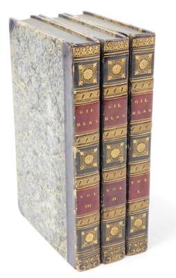 Le Sage (Alain René) The Adventures of Gil Blas de Santillane translated by Tobias Smollett, 3 vol., 15 engraved plates, contemporary half calf over patterned boards, 8vo, 1819.