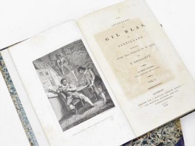 Le Sage (Alain René) The Adventures of Gil Blas de Santillane translated by Tobias Smollett, 3 vol., 15 engraved plates, contemporary half calf over patterned boards, 8vo, 1819. - 2