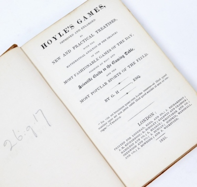[Hoyle (Edmond)] Hoyle's Games Improved and Enlarged by New and Practical Treatises…, contemporary sheep, a little scuffed, 8vo, 1835. - 2