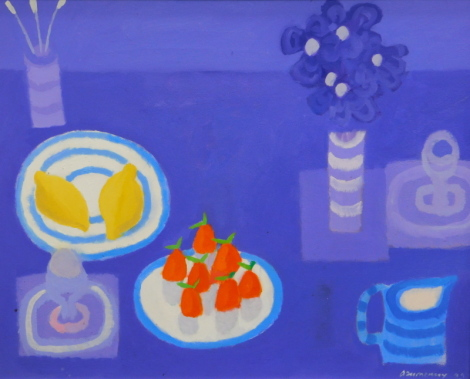 Alan Furneaux (b.1953). Strawberries and Lemons, oil on canvas, signed and titled verso, 59.5cm x 74.5cm. Label verso: Reynolds Fine Art, Essex.