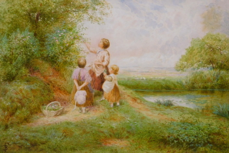 Myles Birkett Foster (1825-1899). Young children collecting flowers, watercolour, signed, 17cm x 24.5cm.
