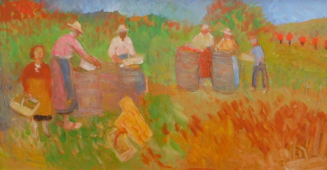 Reginald William Gammon (1894-1997). Vineyard in Auvergne, oil on board, 28.5cm x 54.5cm. Label verso: The Court Gallery, Somerset.