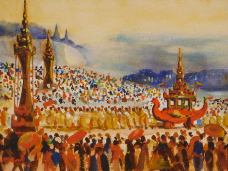 U.HLA Baw (1904-1949). Parade (Burma) Myanmar, watercolour, signed and dated (19)36?, 25cm x 35cm.