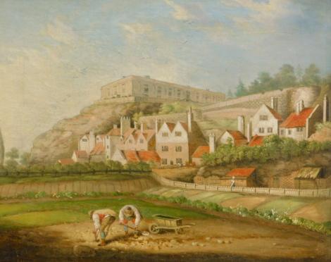 19thC British School. Nottingham Castle, oil on canvas, 34cm x 43cm.