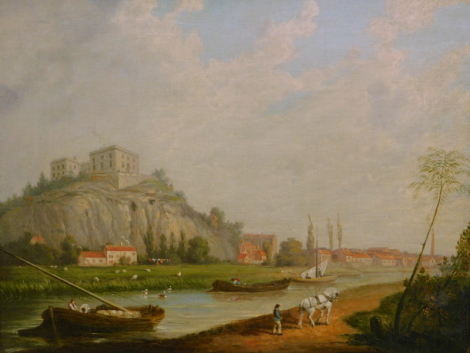 19thC British School. Nottingham Castle from the river, oil on canvas, 34cm x 43cm.