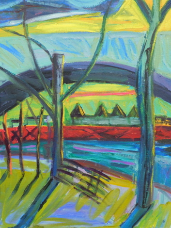 Lucy Jones (b.1955). Untitled (River) 1991, oil on canvas, 76.5cm x 61cm. Label verso: Angela Flowers Gallery, London.