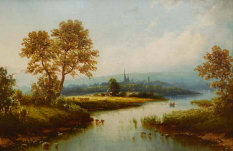 19thC British School. River scene with cathedral in the background, oil on canvas, 47cm x 73cm.