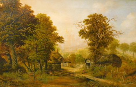 Charles Leaver (1824-1888). River landscape with figure and thatched cottages, oil on canvas, signed and dated 1866, 84cm x 134.5cm.