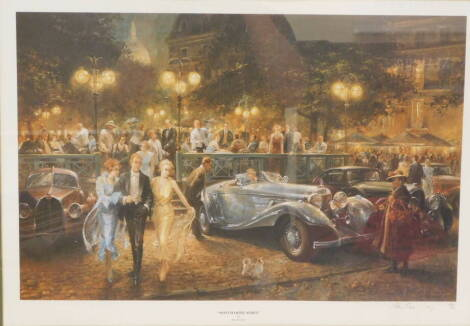 After Alan Fearnley. Montmartre Soiree, limited edition colour print of 500, signed in pencil, 35.5cm x 55cm.