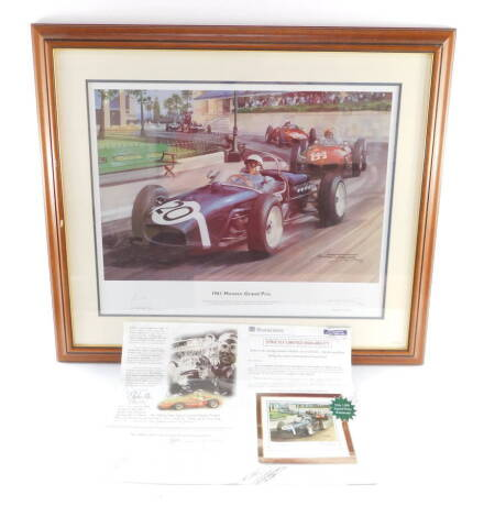 After Michael Turner. 1961 Monaco Grand Prix, limited edition colour print 86/4500, signed in pencil by artist and Sir Sterling Moss, plate size 35.5cm x 50cm, framed.
