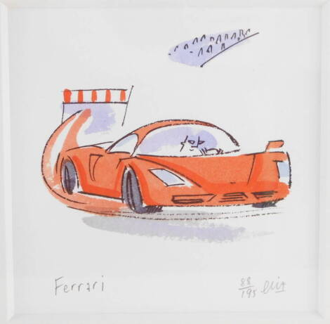 After Elia (20th). Ferrari, limited edition colour print 88/195, 13.5cm x 13.5cm