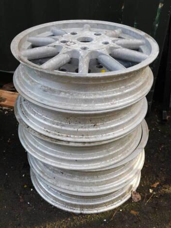 """Five unnamed ten spoke alloy wheels, 21 1/2"""" diameter."""