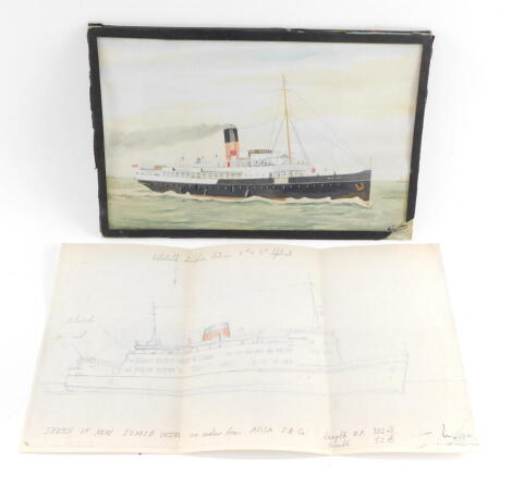 A pencil sketch of the New IOMSP Vessel, Isle of Man, on order from Aylesa SP Company., together with a watercolour by Sandham of the Manx Maid, ex Caesarea., signed., verso details, 17.5cm high, 27.5cm wide. (frame AF). (2)